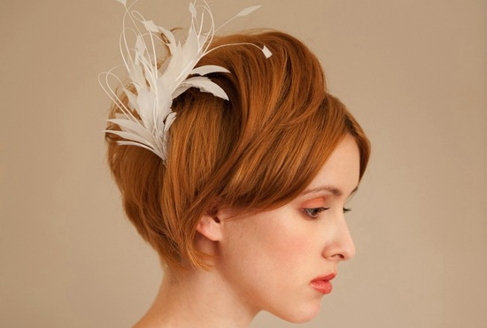 Vintage feather headpiece handmade bridal accessories