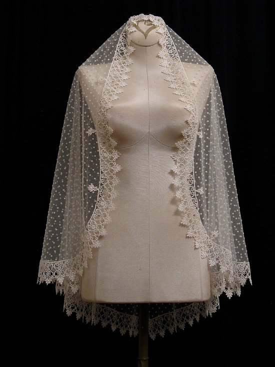 Ivory Swiss Dot Bridal Veil with Lace