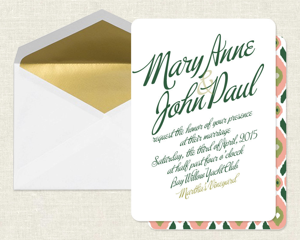 Elegant Wedding Invitations Gold Green Coral