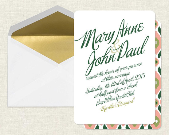 Elegant Wedding Invitations Gold Green Coral
