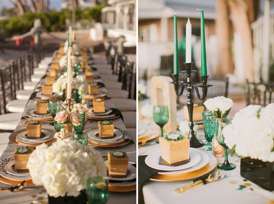 photo of An Elegant Wedding Color Palette: Emerald Green & Gold