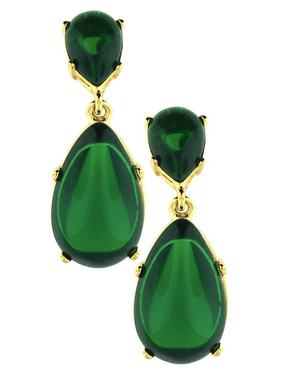 Emerald Green Gold Wedding Earrings Celeb Inspired