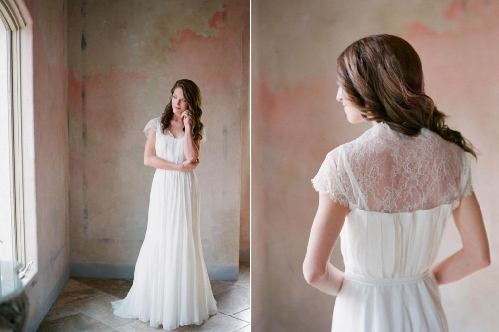 Romantic Lace and Chiffon Wedding Dress