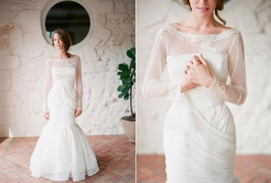 Romantic Mermaid Wedding Gown with Sheer Sleeves