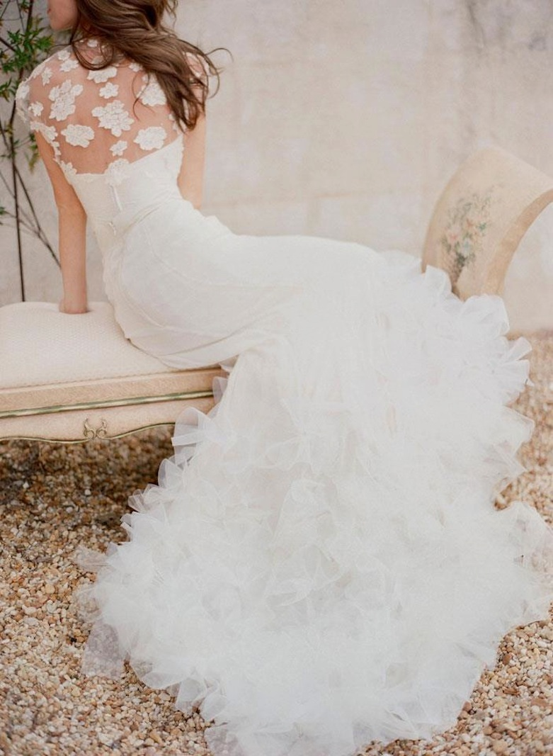 Classic Wedding Gown with Floral Embellished Bridal Bolero