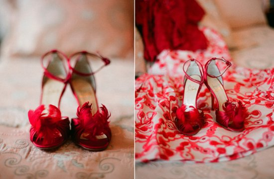 red feather wedding shoes