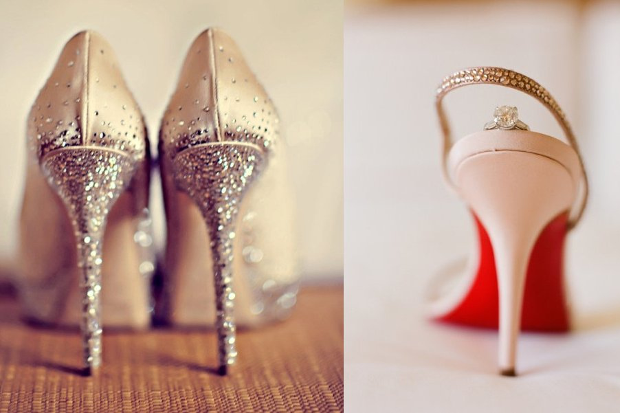 Romantic Wedding Shoes Low Heels sparkly
