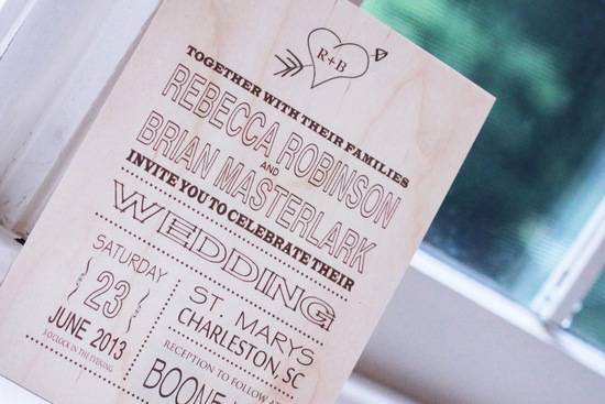 Wood Wedding Invitation Modern Rustic Heart