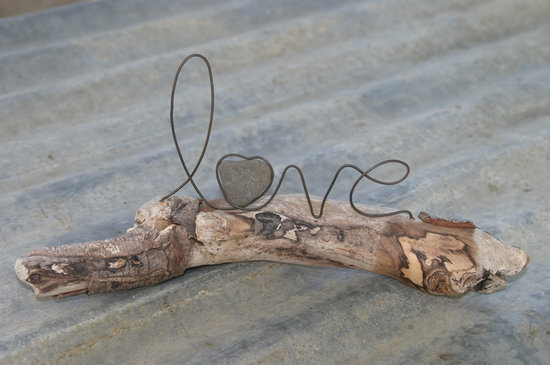 Unique Wedding Centerpiece Love on Driftwood