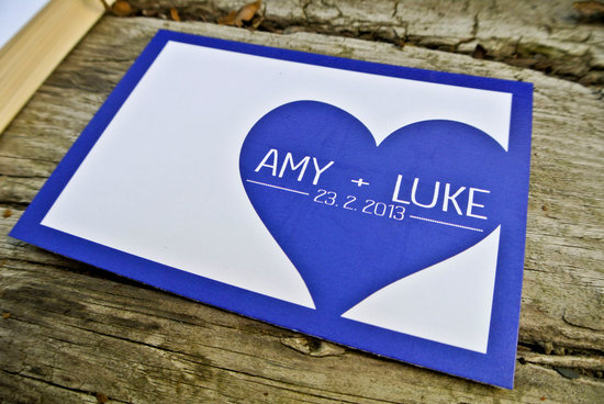 Custom Navy Blue Gray Wedding Invitation