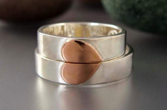 His and Hers Heart Wedding Bands