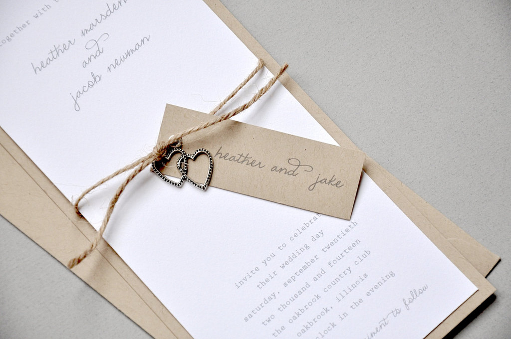 Rustic Modern Wedding Invitations with twine and silver hearts