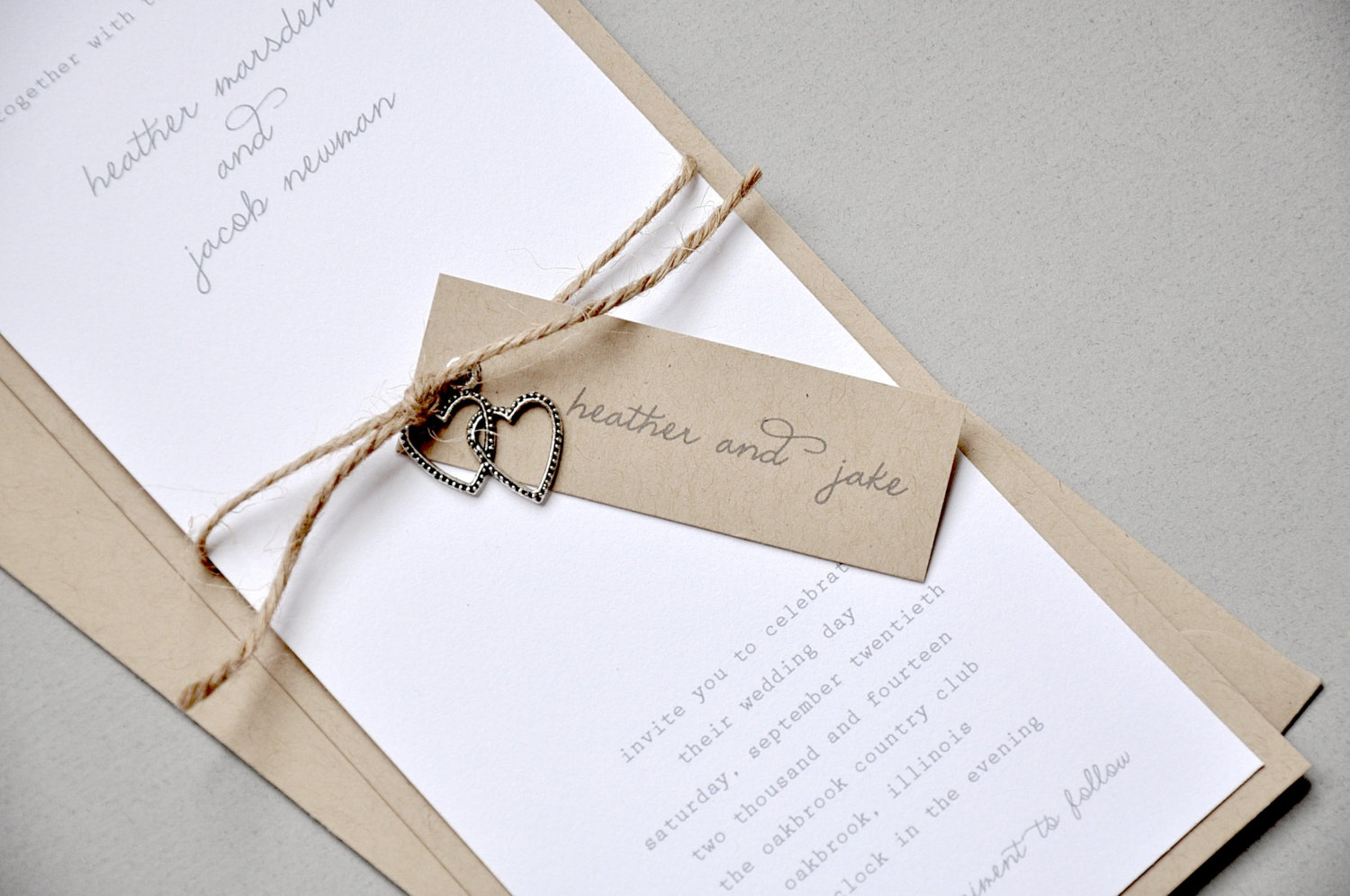 wedding invitations with twine - 28 images - simple script ...