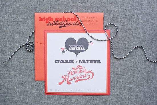 Love themed wedding invitations gray coral white
