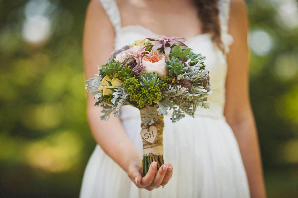 Beautiful Bridal Bouquet with Wood Heart Tag