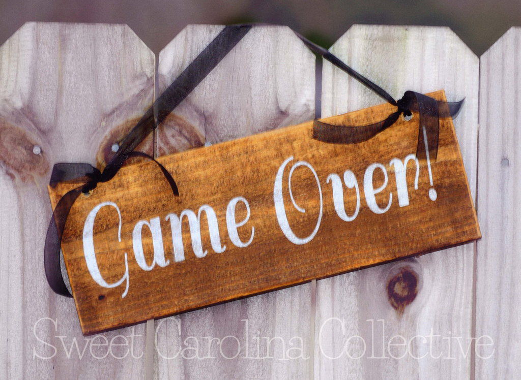 game over wedding sign