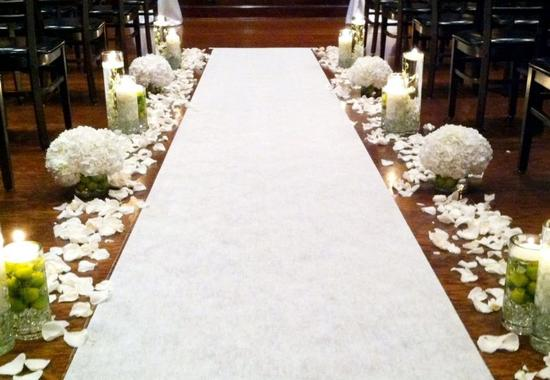 Unique Wedding Ceremony Aisles White Green Elegant