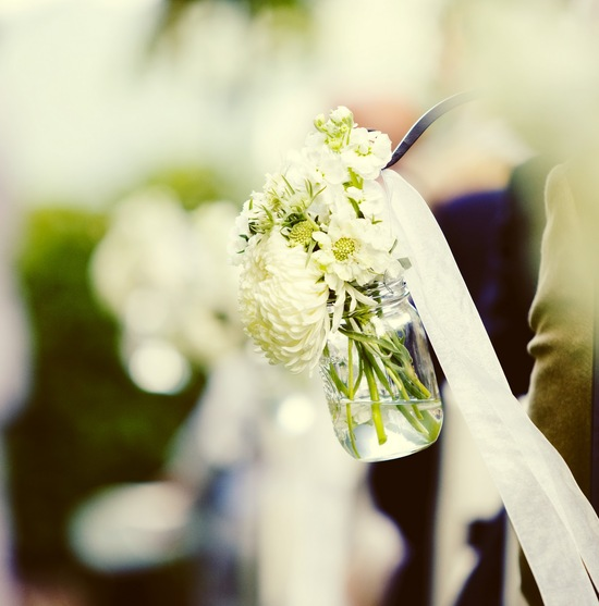White and Green Wedding Flowers Ceremony Decor
