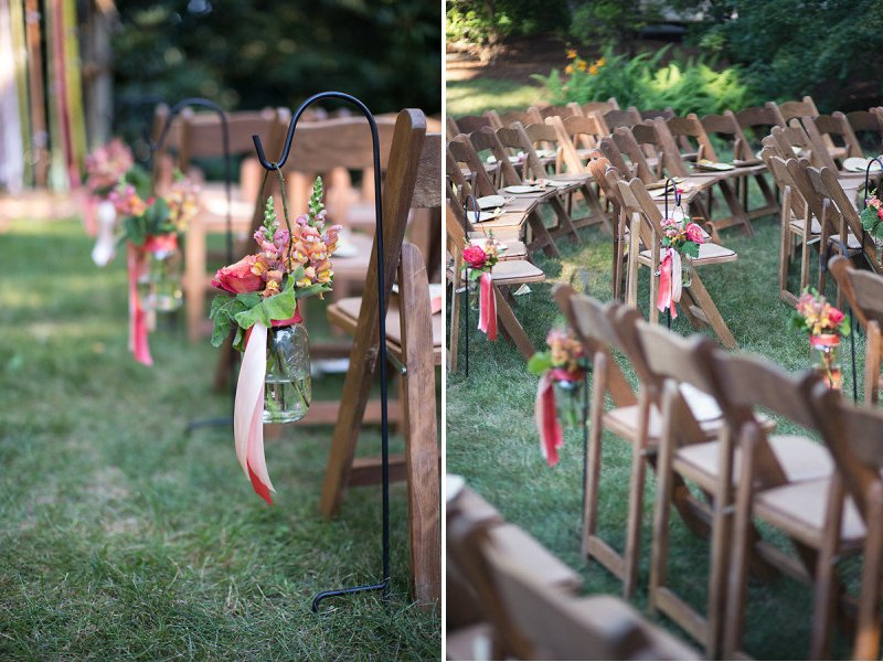 Outdoor Wedding Aisle | Outdoor Wedding Ceremony With Mason Jar Aisle Decor