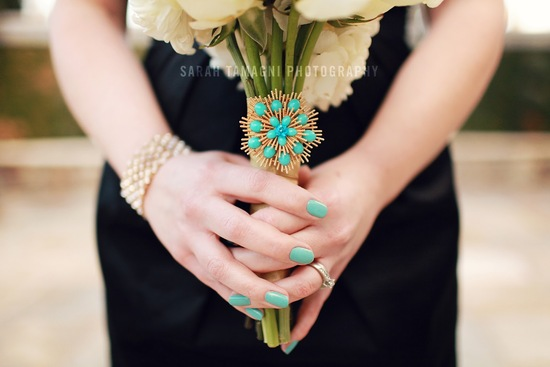 Turquoise and Gold Bridesmaid Bouquet Accent