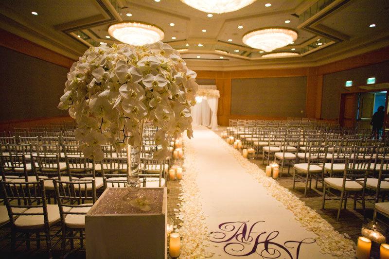 San Diego Wedding Ballroom Ceremony Chuppah Candle Lit Aisle
