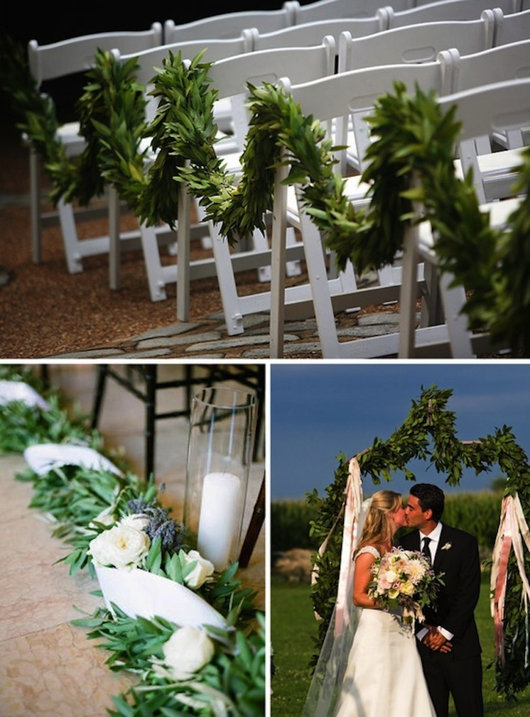 Wedding Ceremony Aisle Lined with Greenery
