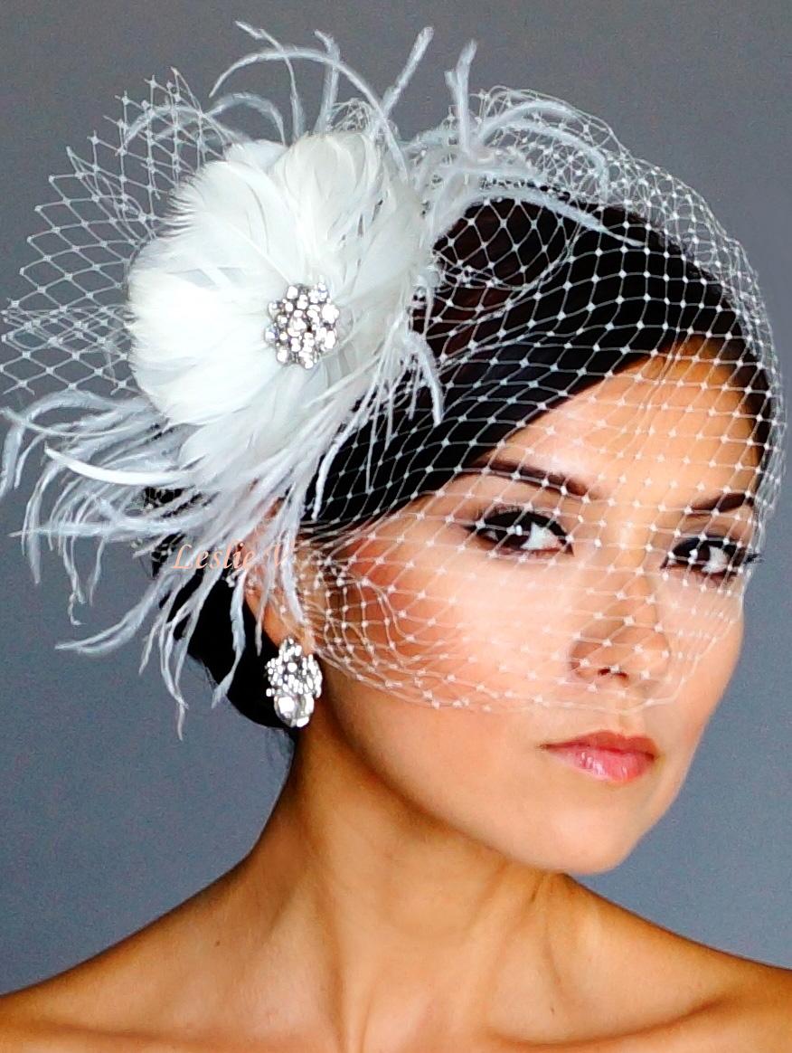 Vintage Style Brooch Fascinator Headpiece Amp Birdcage Bridal Veil 21 F58