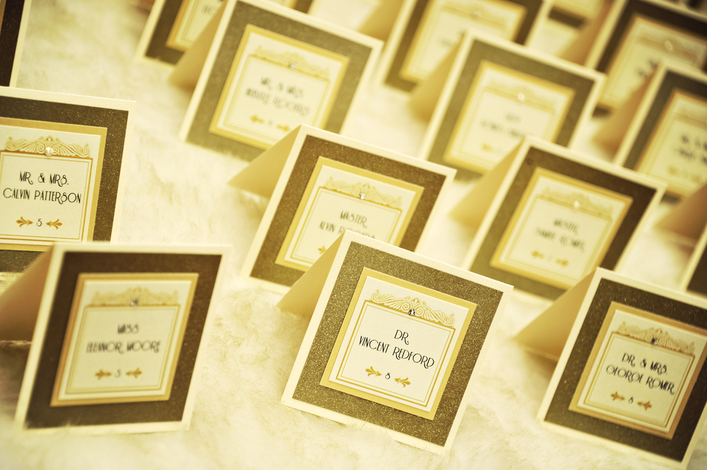 Gold and Ivory Art Deco Wedding Escort Cards