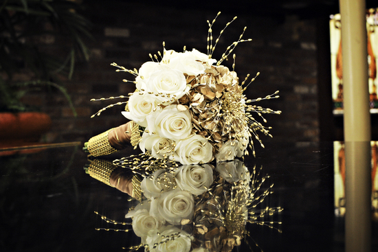 Ivory and Gold Bridal Bouquet of Roses and Hydrangeas