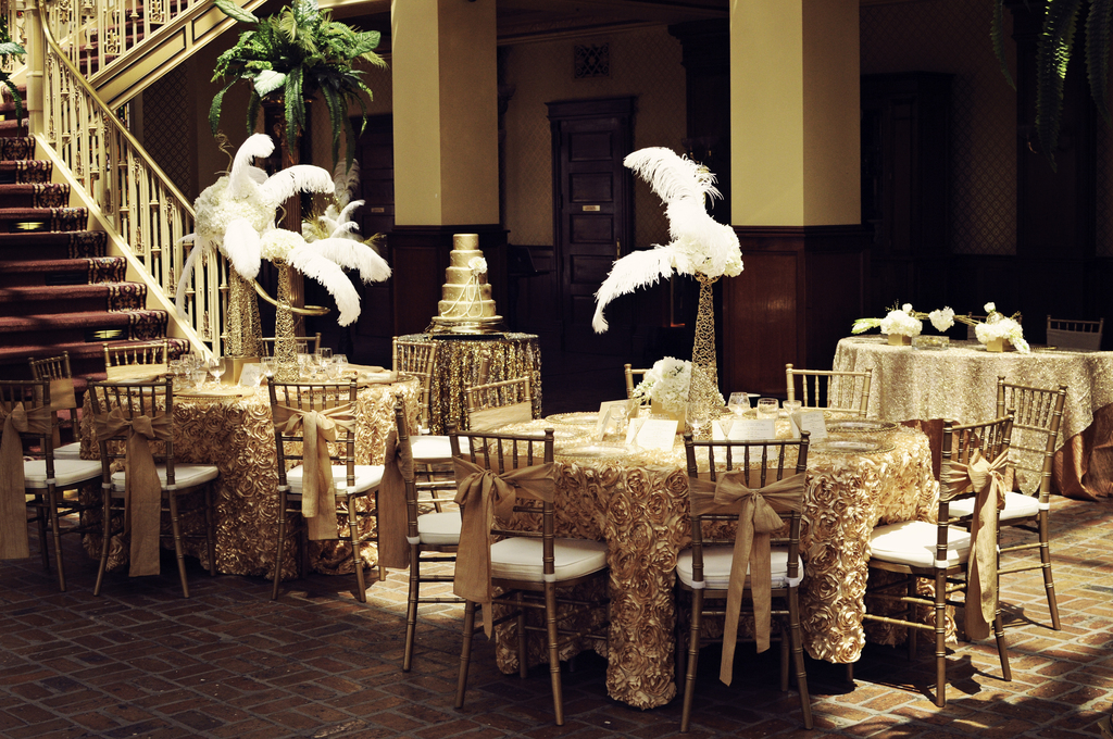Vintage Gold Wedding Reception With Feather Centerpieces