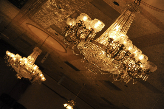 Opulent Wedding Venue with Sparkling Chandeliers