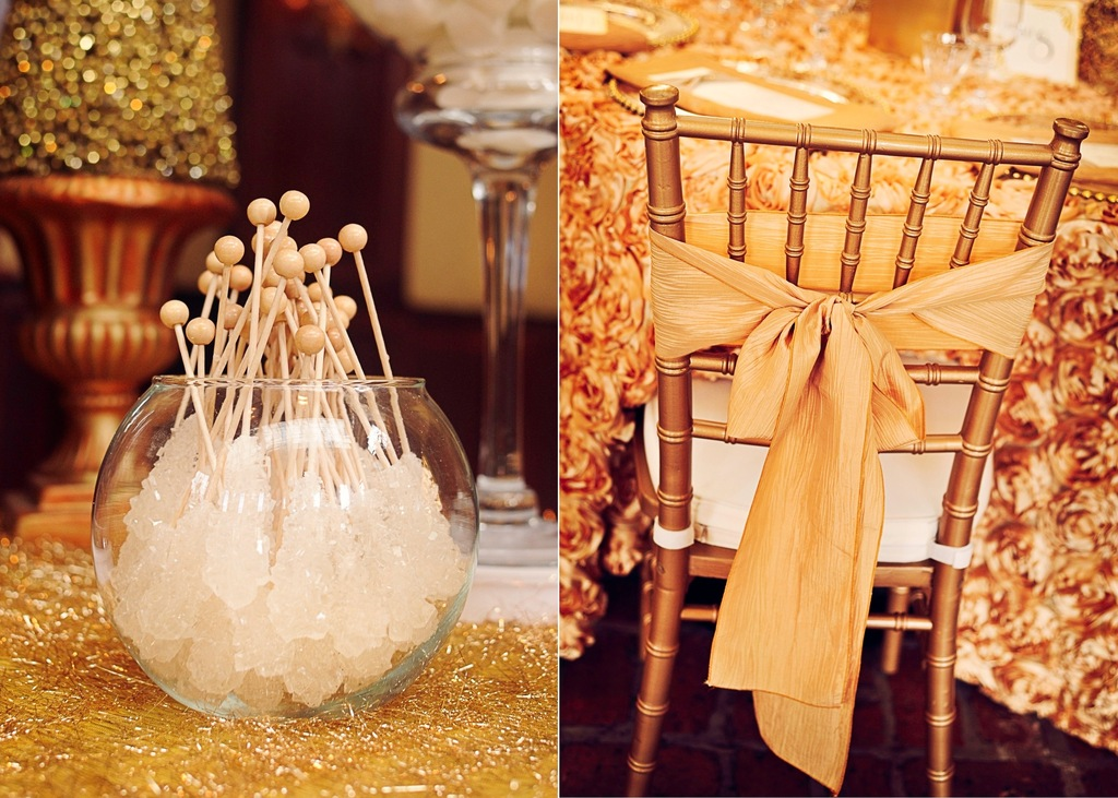 Gilded Gold Wedding Reception Decor Candy Sweets