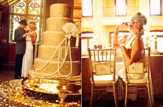 Gilded Gold Wedding Cake at Great Gatsby Themed Reception
