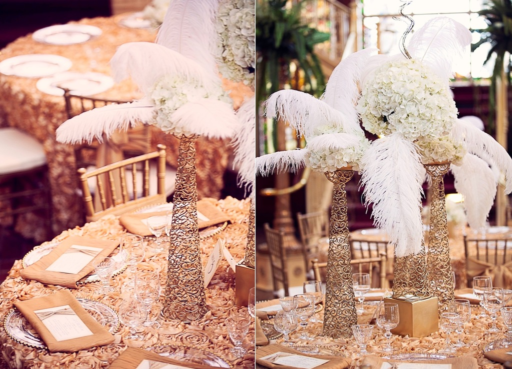 Feather And Gold Wedding Centerpieces
