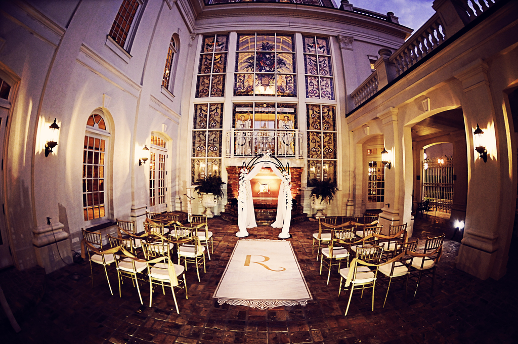 Elegant-wedding-ceremony-set-up-monogrammed-aisle-runner.full