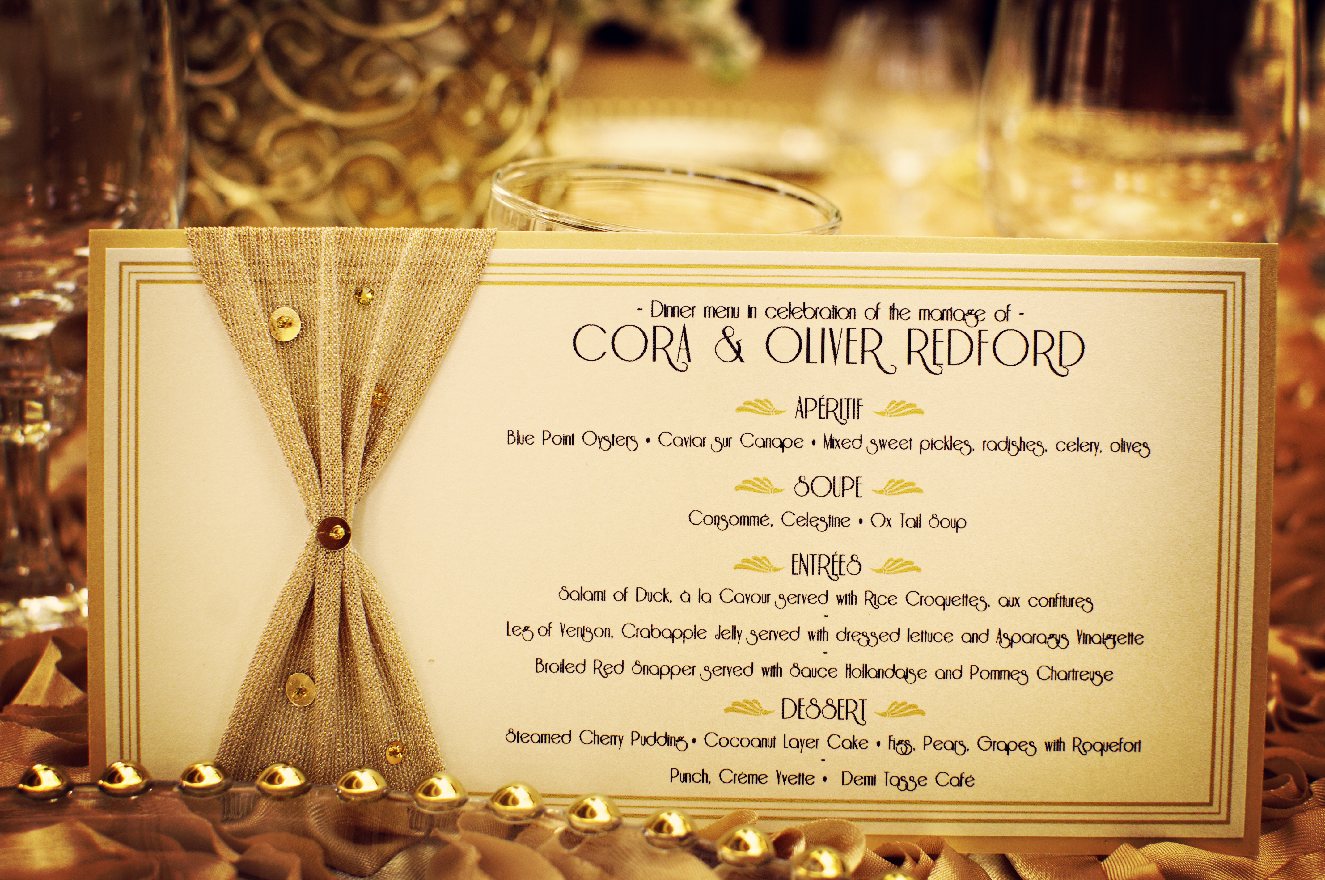 Wedding detail shot reception dinner menu art deco for Cuisine art deco