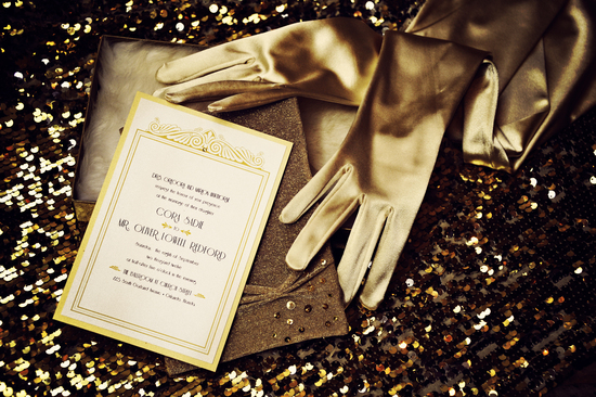 Vintage Wedding Inspiration Art Deco Invitations Shimmery Gold Gloves