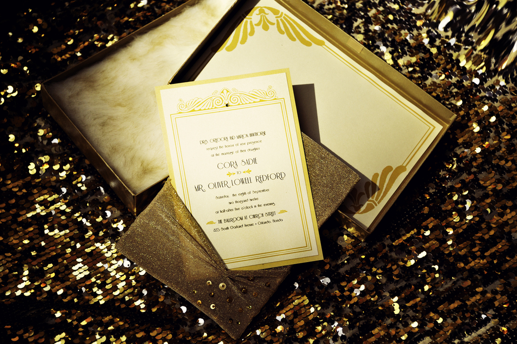 Sparkly Gold and Ivory Wedding Invitation Suite