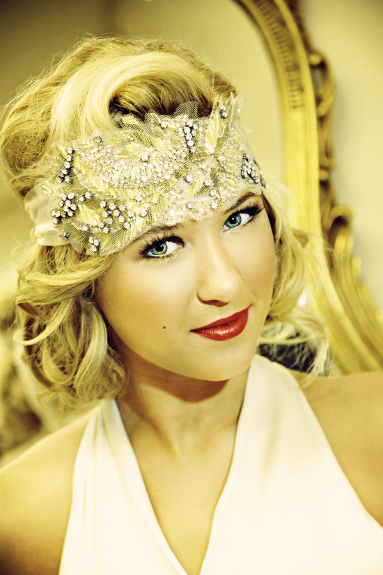 Gorgeous Vintage Bride with Embellished Headband and Bright Red Lips