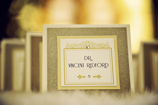 Art Deco Inspired Wedding Escort Cards Gold and Ivory