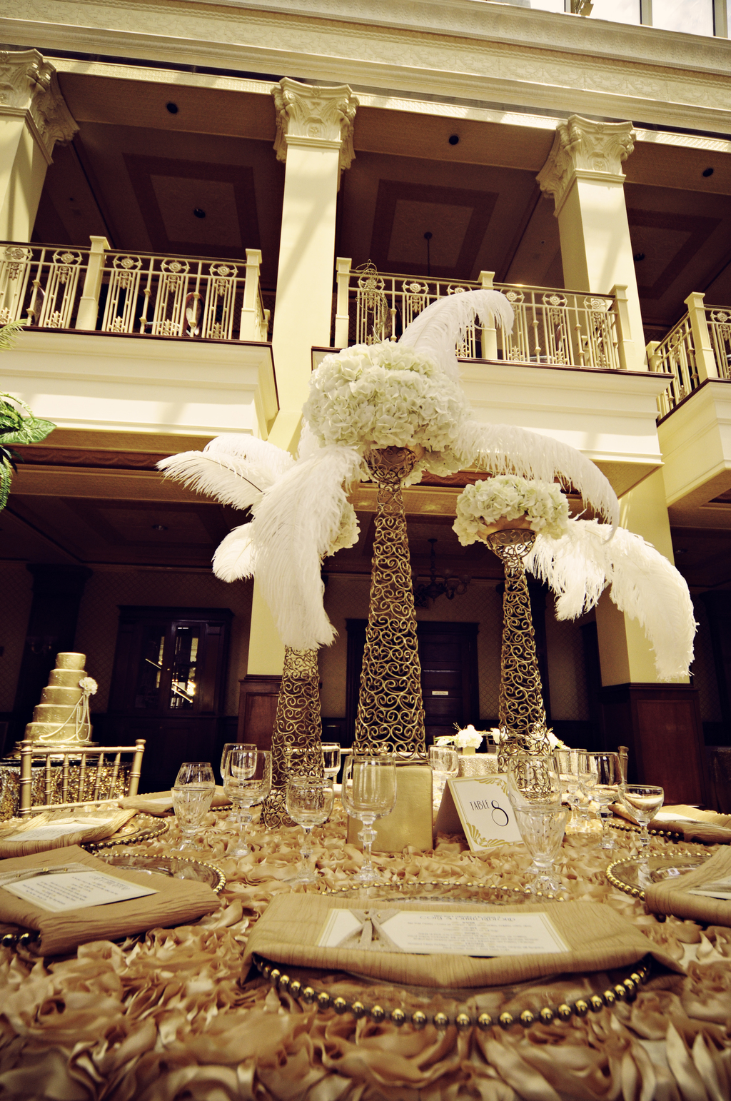 Vintage Inspired Wedding Centerpiece Gold with Ivory Feathers