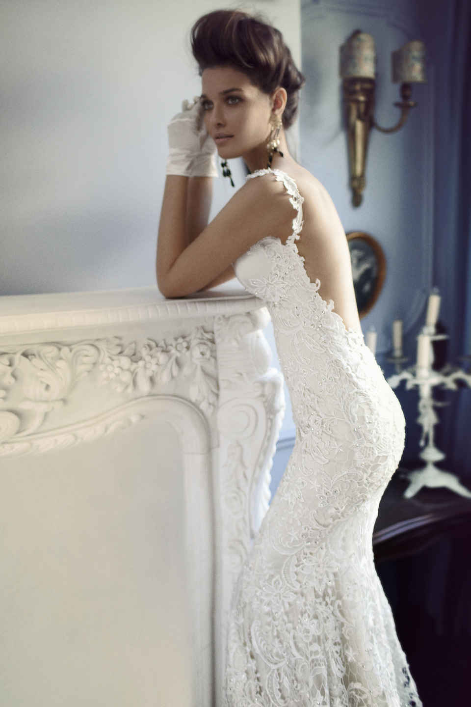 Lace Wedding Dress with Crystal Beads
