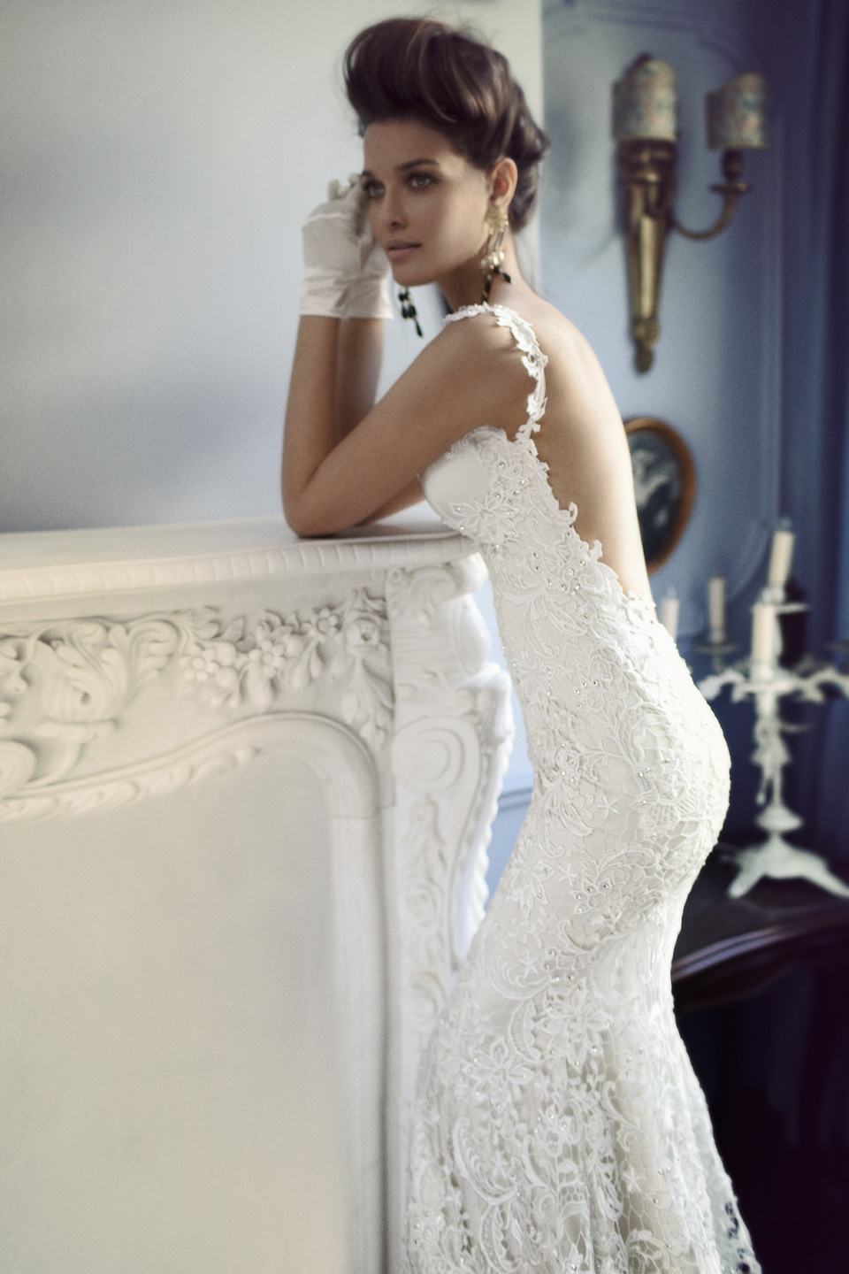 Open back lace wedding dress with crystal beadng for Lace wedding dresses open back