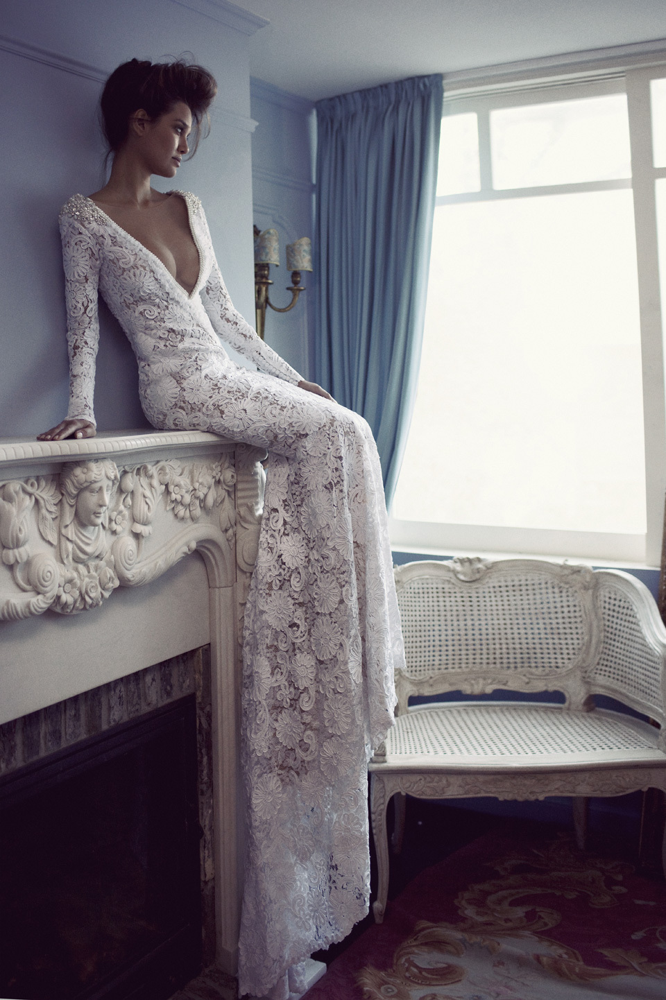 Deep-v-lace-wedding-dress-with-beaded-crystal-shoulders.full
