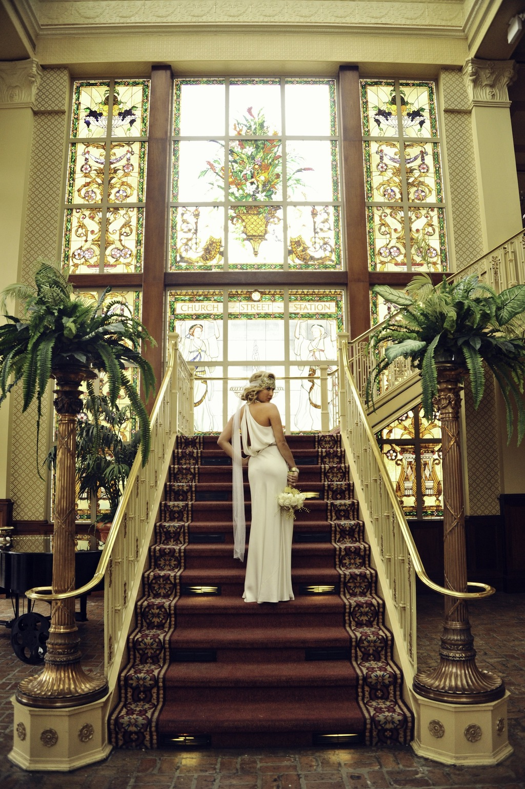 Opulent Wedding Venue with Harpist for Ceremony Music, Bride and Groom