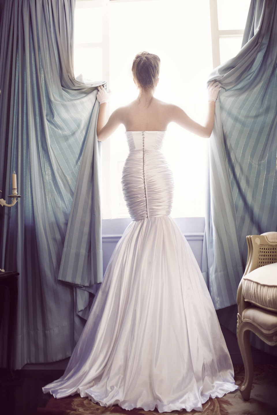 Drop Waist Mermaid Wedding Dress with Sweetheart Neckline Crystal Sash