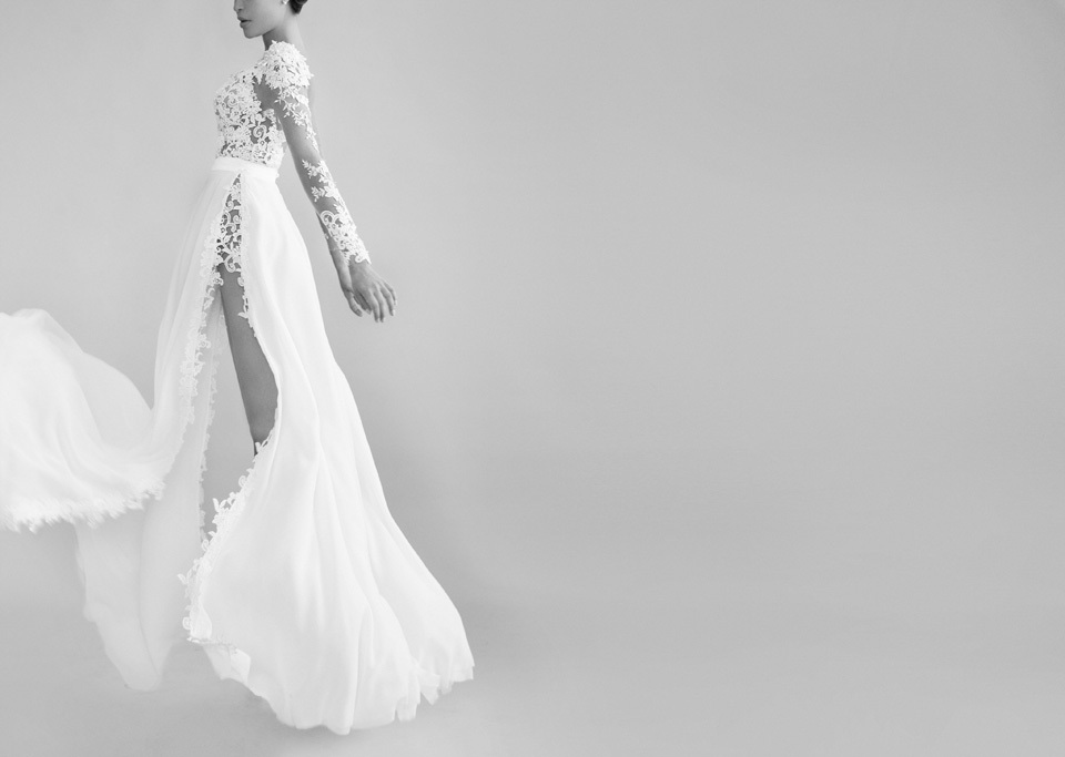 Daring-lace-wedding-dress-with-sky-high-slit.full