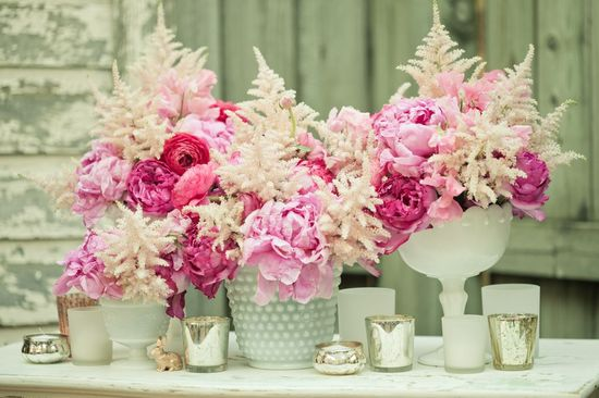 Pink and Ivory Wedding Centerpieces