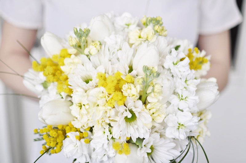 Classic White and Yellow Bridal Bouquet