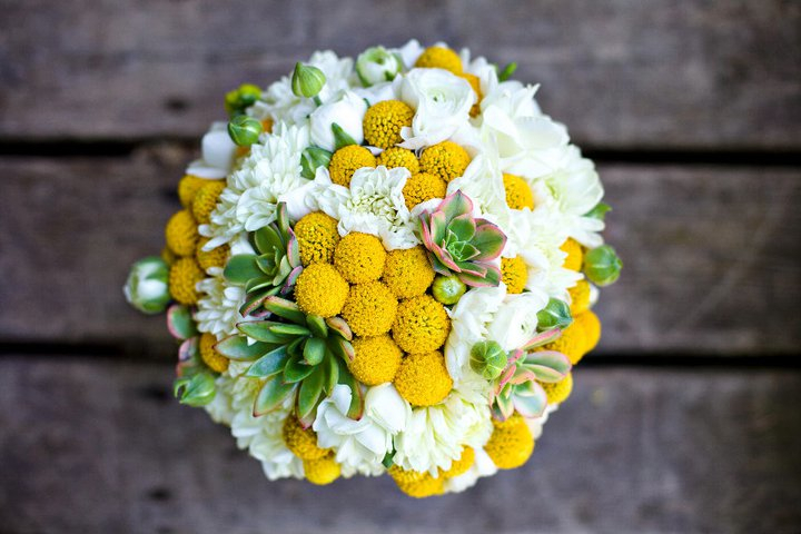 Yellow white green bridal bouquet with billy balls mightylinksfo